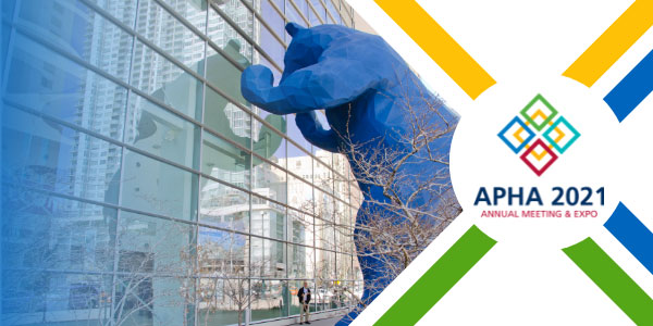 blue bear statue outside Denver Convention Center, APHA 2021 Annual Meeting and Expo