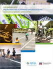collage of people biking and walking