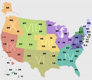 State Affiliates and Regions Map