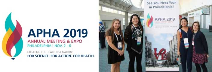 four women smiling next to Philadelphia Love sign, APHA 2019 Annual Meeting and Expo, Creating the Healthiest Nation: For science. For action. For health.