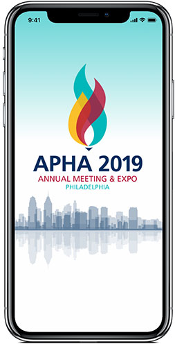 phone screen showing APHA 2019 mobile app