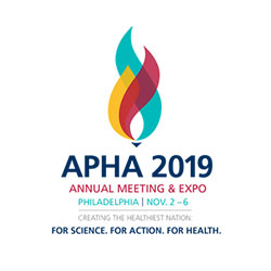 Logo, APHA 2019, Annual Meeting & Expo, Philadelphia, Nov. 2-6, Creating the Healthiest Nation: For science. For action. For health.