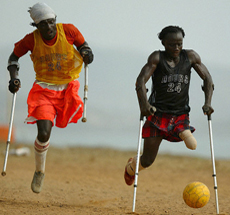 Disabled men playing soccer