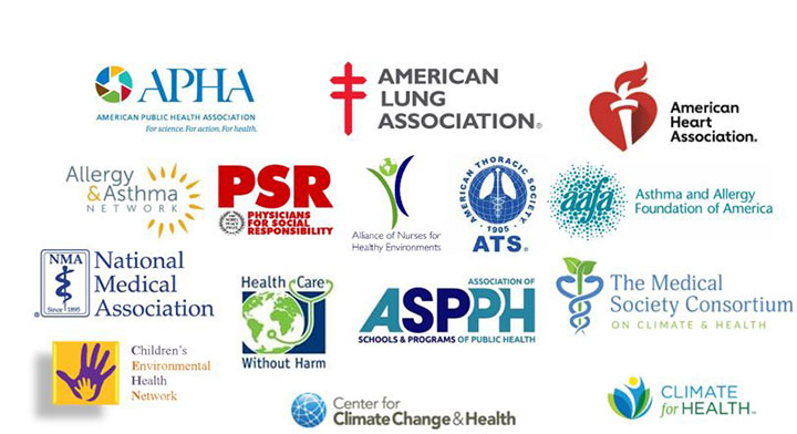 Logos, APHA, American Lung Association, American Heart Association, etc.