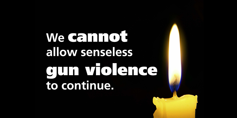 We cannot allow senseless gun violence to continue. Lit candle.