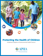 Front page of report titled Protecting the Health of Children, images of family holding hands, smiling children