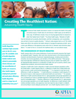 First page of Advancing Health Equity Fact Sheet featuring smiling children