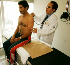 Patient at doctor's office for physical examination